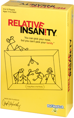 Photo of the Relative Insanity packaging, including a box with a yellow design and stick figures that says Relative Insanity: You can pick your nose, but you can't pick your family